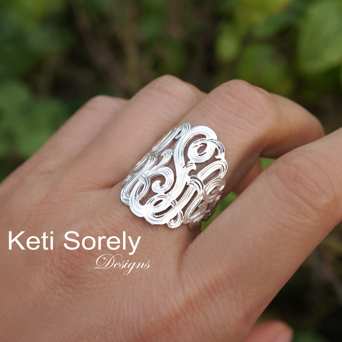 Script Monogram 18K Gold or Sterling Silver Silver Large Monogram Ring 1 14K Gold Initials Ring 10K Gold Personalized Ring