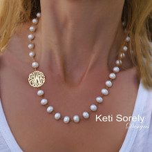 Freshwater Pearl Necklace with Sideways Monogrammed Initials - Choose Your Metall