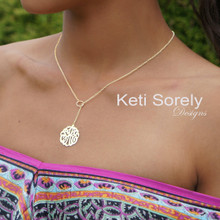 Personalized Lariat Script Monogram Pendant - Drop Necklace - Yellow, White or Rose Gold