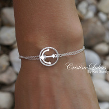 Sideways Anchor Bracelet with Rope Frame - Choose Your Metal