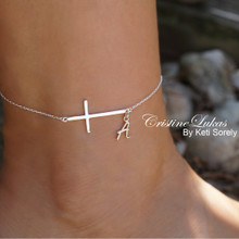 Celebrity Style Sideways Cross Anklet With Your Initial - Choose Your Metal