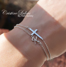Layered Sideways Cross Bracelet or Anklet with Your Initial - Choose Your Metal