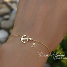 Sideways Anchor Charm with Cross and Initial - Choose Your Metal