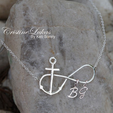 Infinity Necklace with Cross And Your Family  Initials - Choose Your Metal