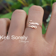 Personalized Name Ring with By-Pass Infinity Symbol - Choose Your Metal