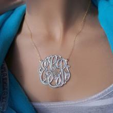 Diamond Beaded Monogram Necklace With Rhodium Overlay - Choose Your Metal