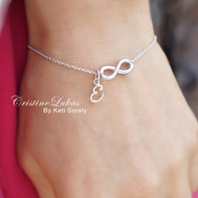 Sideways Infinity Bracelet  with Your Initial - Choose Your Metal