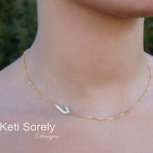 Single Initial Necklace In Sterling Silver or Solid Karat Gold