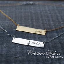 Engraved Bar Necklace with Name, Date or initials - Choose Your Metal