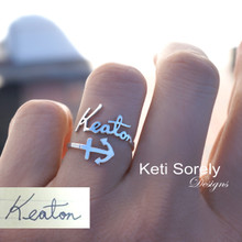Personalized Handwriting Name Ring with Sideways Anchor  -  Choose Your Metal