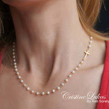 Sideways Cross Necklace with White Pearls  - Sterling Silver, Yellow or Rose Gold