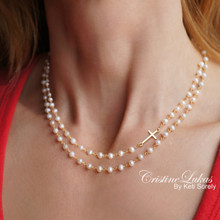 Double Sting Sideways Cross Necklace with White Pearls  - Sterling Silver, Yellow or Rose Gold