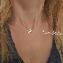 Clover Flower Charm Necklace in  Solid Gold