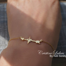 Sideways Arrow Bracelet or Anklet With HeartBeat - Sterling Silver or Solid Gold