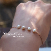 Dainty Pearl Bracelet or Anklet in Sterling Silver, Yellow or Rose Gold