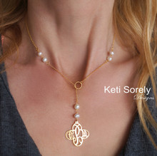 Cross Monogram Necklace with Freshwater Pearls -Lariat Style - Choose Your Metal