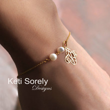 Cross Monogram Bracelet or Anklet with Freshwater Pearls - Choose Your Metal