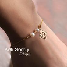 Cross Monogram Bracelet or Anklet with Freshwater Pearls - Choose Your Metal