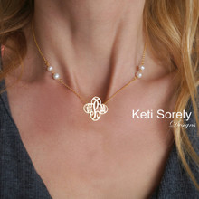 Freshwater Pearls Necklace with Cross Shaped Monogram Initials - Choose Your Metal