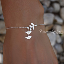 Baby Birds Bracelet or Anklet with Engraved Initials & Tree Branch - Choose Your Metal