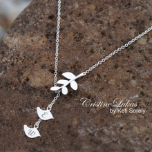 baby Birds Neckalce With Engraved Initials & Tree Branch - Choose Your Metal