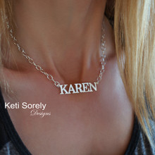 Handmade Large Name Necklace - Sterling Silver, Rose or Yellow Gold