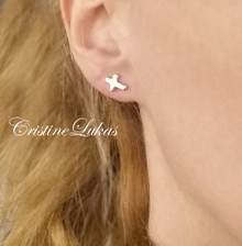 Sideways Cross Earrings - Stud Earrings - Available in Yellow, White and Rose Gold