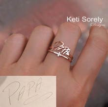 Personalized Handwriting Rings Set With Sideways Cross & CZ Stones - Choose Your Metal