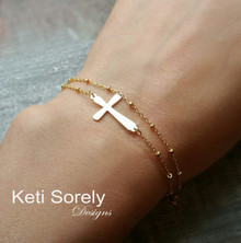 Sideways Cross Bracelet or Anklet with Double Chain  - Silver, Yellow or Rose Gold