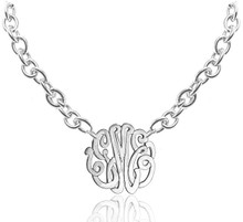 Personalized Large Link Chain Monogram Necklace - Sterling Silver, Yellow or Rose Gold