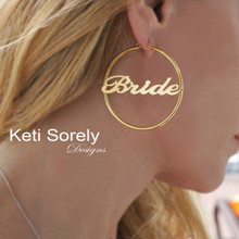 Large Personalized Hoop Name Earrings -  Choose Metal