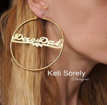 Large Personalized Hoop Name Earrings With Hearts - Choose Metal