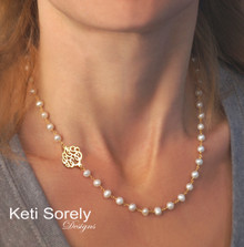 Dainty Freshwater Pearl Necklace with Sideways Monogrammed Initials - Choose Your Metal