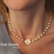 Dainty Pearl Necklace with Monogrammed Initials - Choose Your Metal