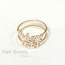 Double Name Ring with Infinity  - Choose Your Metal
