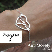 Open Heart Bracelet with Your Handwriting Word or Signature - Sterling Silver or Solid Gold