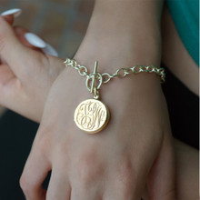 Personalized Monogram Locket Bracelet With Toggle Clasp - Choose Your Metal
