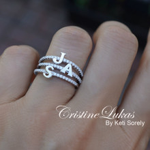 Initial Ring With CZ  Stones In Sterling Silver