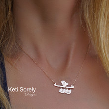 Mother  & Baby Birds Necklace with Engraved Initials - Choose Metal