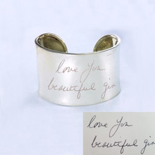 Engraved Handwriting Message Cuff Bangle - Engrave Front & Back - Sterling Silver, Yellow or Rose Gold Overlay