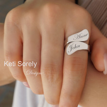 double Wrap Ring With Engraved Initials - Choose  Metal