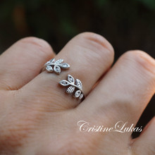 Wrap Around Olive Branch Ring  With CZ Stones - Sterling Silver or Solid Gold