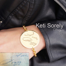 Your Handwriting Message On Large Disc Bracelet - Choose Metal