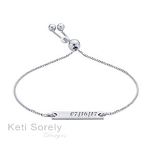 Engraved Bar Bracelet With Adjustable Clasp - Choose Your Metal