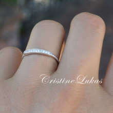 Dainty Bar Ring with  With CZ Stones - Sterling Silver