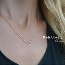 Dainty Single Initial Necklace In 10K, 14K or 18K Gold.