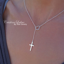 Heart Lariat Necklace with Cross - Sterling Silver or Solid Karat Gold