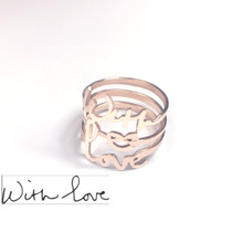 Handwriting Message Ring  with Infinity Love Knot - Choose Your Metal