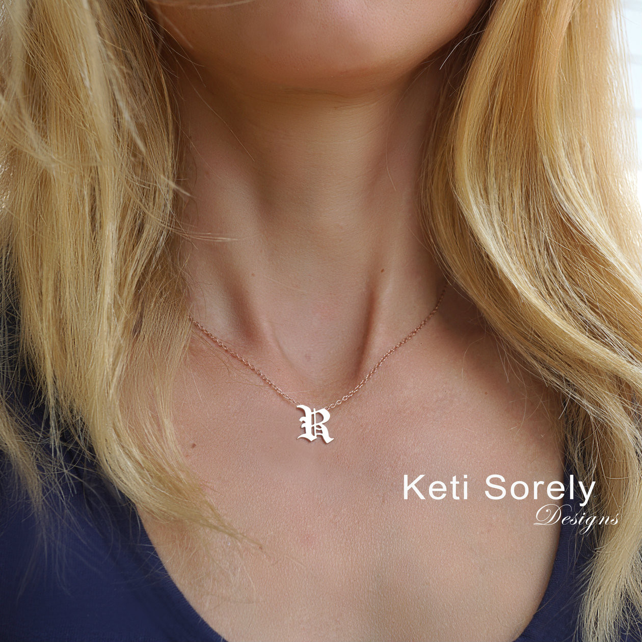 a012a9af9368b Gothic Style Small Initial Charm Necklace In Sterling Silver or Solid Karat  Gold