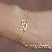 Layered Infinity Bracelet  with Your Initial - Choose Your Metal